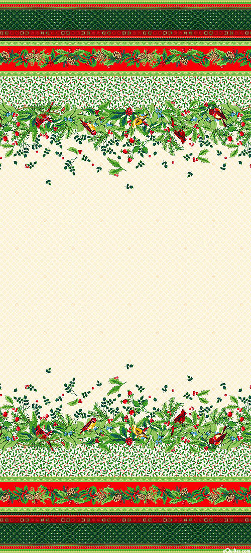 """Joyful - Christmas Bird Border Stripe - Cream/Gold - 58"""" WIDE"""