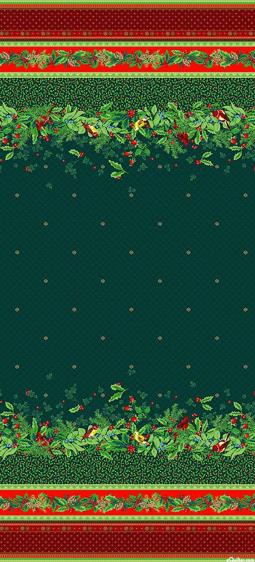 "Joyful - Christmas Bird Border Stripe - Green/Gold - 58"" WIDE"