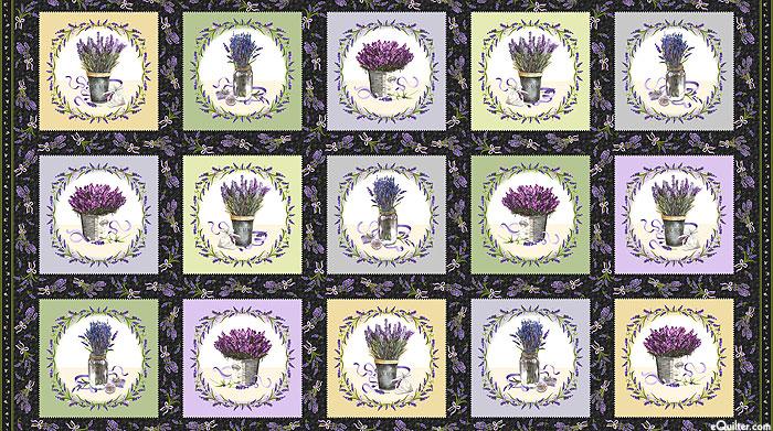 """Lavender Sachet - Beautiful Bouquets - Dk Gray - 24"""" x 44"""" PANEL"""