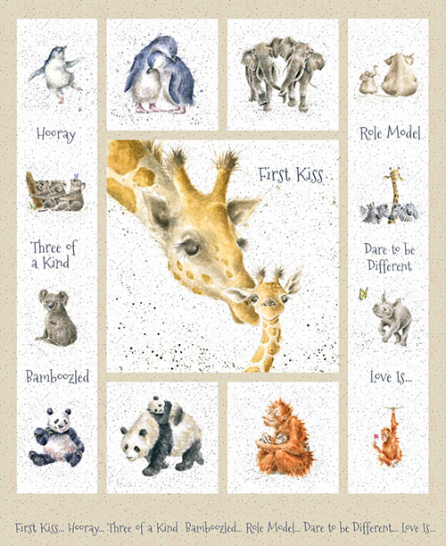 "Love Is - Zoo Animal Kisses - 36"" x 44"" PANEL - DIGITAL PRINT"