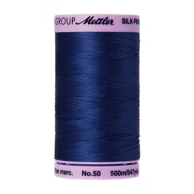 Blue - Mettler Silk Finish Cotton Thread - 547 yd - Md Cobalt