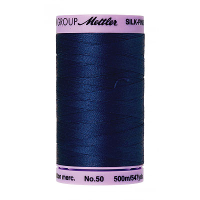 Blue - Mettler Silk Finish Cotton Thread - 547 yd - Cobalt