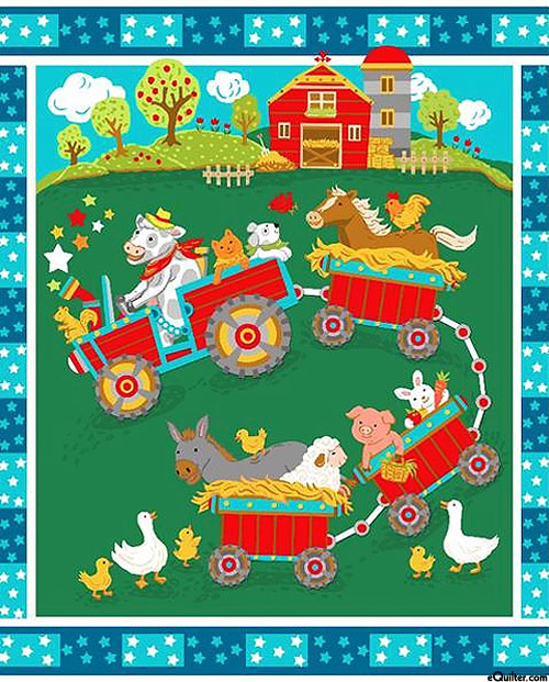 "Baby Panels - Tractor - Jungle Green - 36"" x 44"" PANEL"