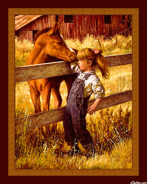 """A Quick Sniff - Foal & Girl - 36"""" x 44"""" PANEL - DIGITAL"""