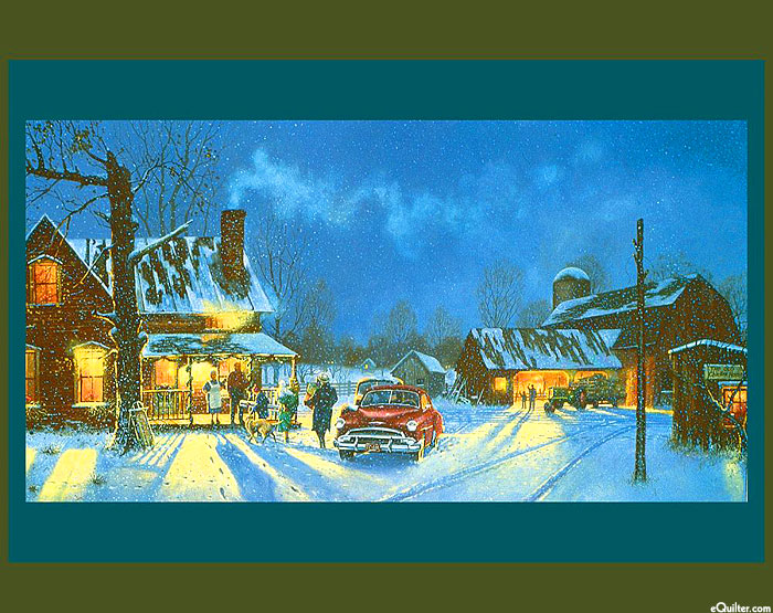 """Happy Holidays - Country Christmas Gathering - 36"""" x 44"""" PANEL"""