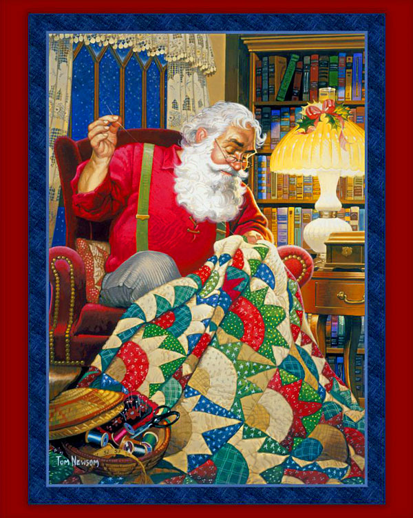 """Quilting Santa - Lacquer Red - DIGITAL PRINT - 36"""" x 44"""" PANEL"""
