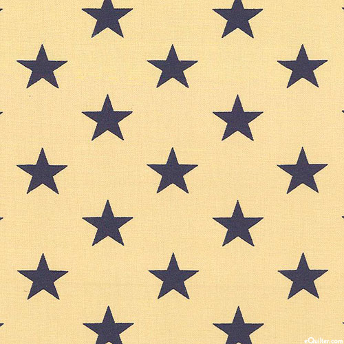 """Patriotic - Grand Star Icons - Beige/Navy - 108"""" QUILT BACKING"""