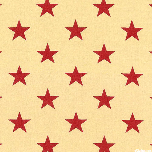 "Patriotic - Grand Star Icons - Beige/Red - 108"" QUILT BACKING"