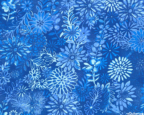 "Floral Medley - Chrysanthemum - Marine Blue - 108"" QUILT BACKING"