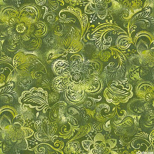 "Floral Medley - Garden of India - Olive - 108"" QUILT BACKING"