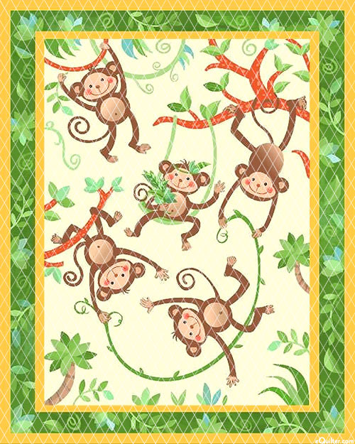 """Baby Quilts - Monkeys - Bone - 36"""" x 44"""" PREQUILTED PANEL"""