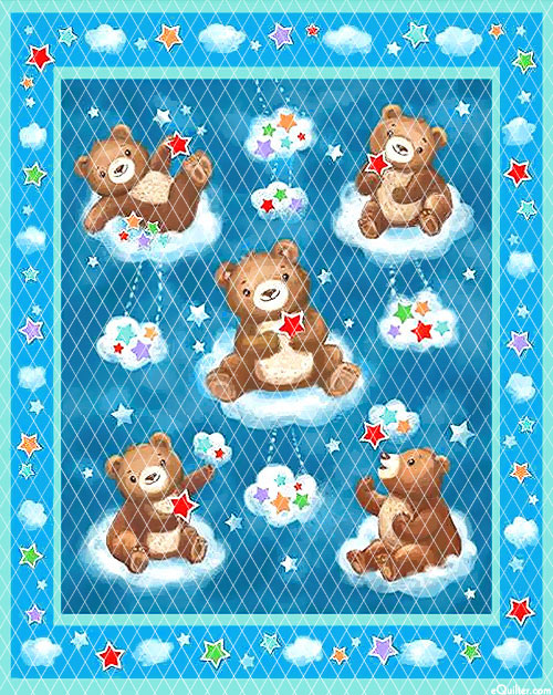 "Baby Quilts - Bears - Turquoise - 36"" x 44"" PREQUILTED PANEL"