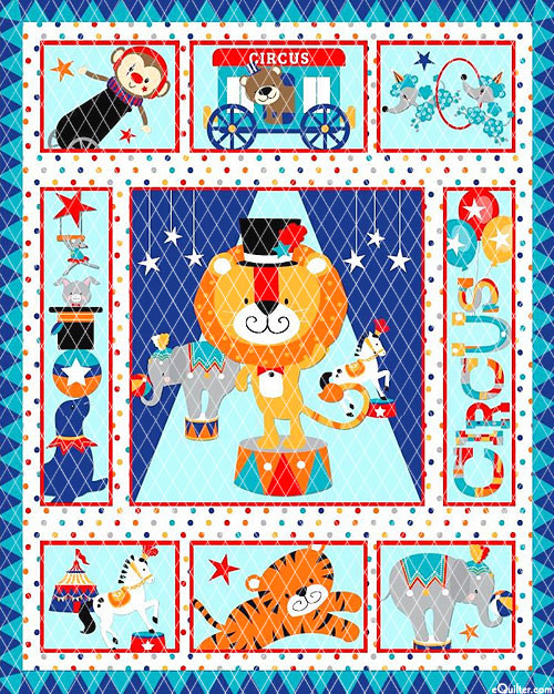 """Baby Quilts - Circus - Blue - 36"""" x 44"""" PREQUILTED PANEL"""