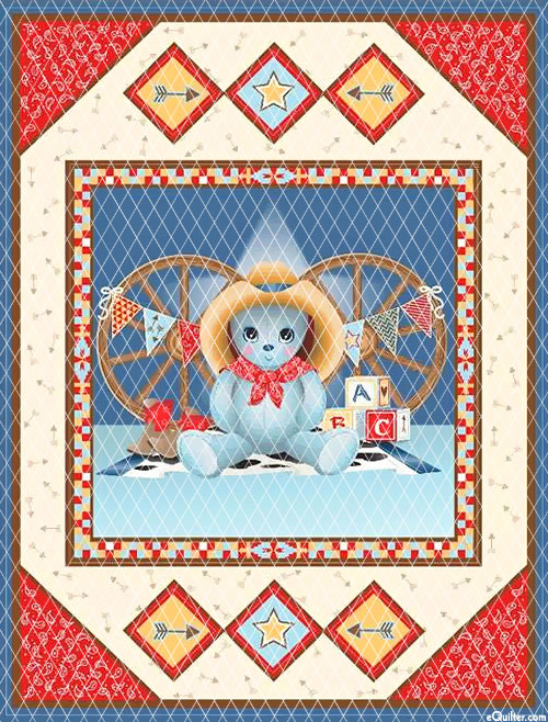 "Baby Quilts - Cowboy Bear - Natural - 36"" x 44"" PREQUILTED PANEL"