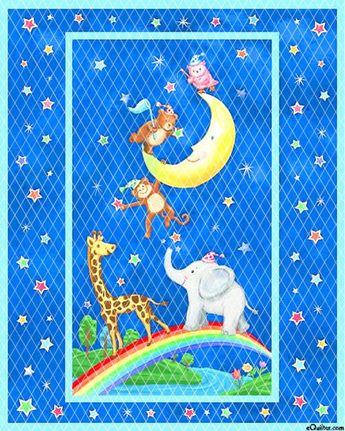 """Baby Quilt - Moon Party - Blue - 36"""" x 44"""" PREQUILTED PANEL"""