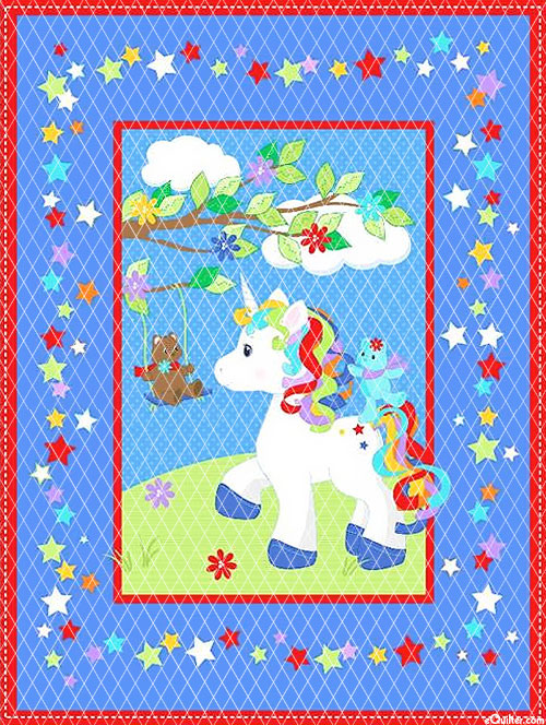 "Baby Quilt - Unicorn - Sky Blue - 36"" x 44"" PREQUILTED PANEL"
