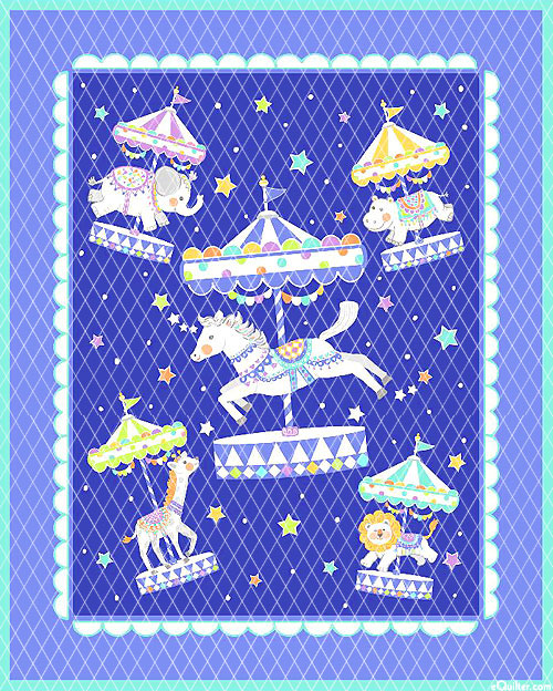 """Baby Quilts - Carousel - Periwinkle - 36"""" x 44"""" PREQUILTED PANEL"""