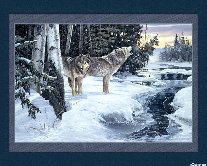 """Wilderness Cry - Wolves by the River - 36"""" x 44"""" PANEL - DIGITAL"""