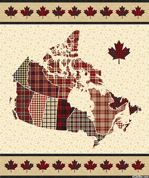 "Canadian Classics - Map of Plaid - Natural - 36"" x 44"" PANEL"