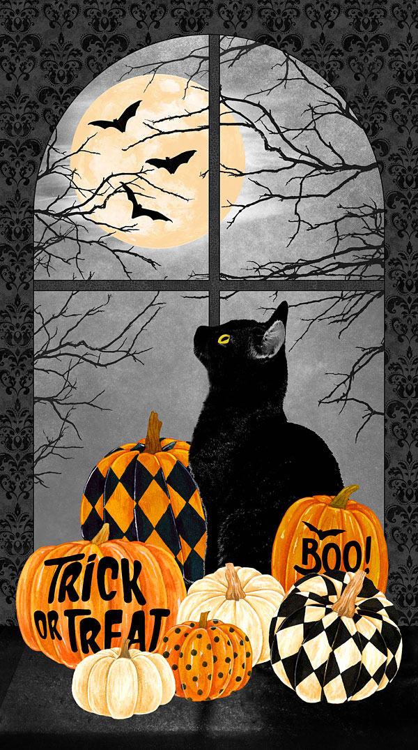 """Black Cat Capers - Watchful Eyes - Black - 24"""" x 44"""" PANEL"""