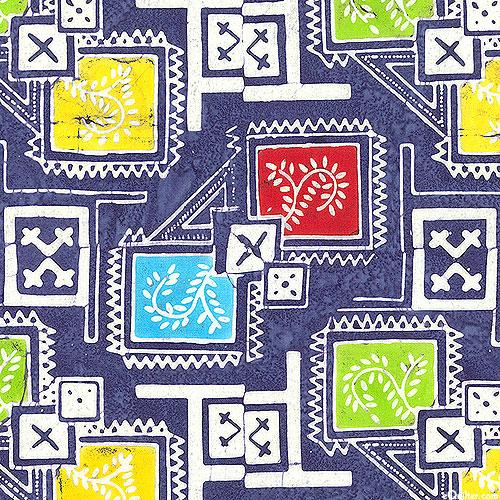 Floral Boxes - Garden Mosaic Batik - Cobalt Blue