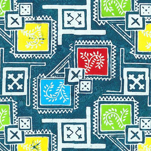 Floral Boxes - Garden Mosaic Batik - Teal