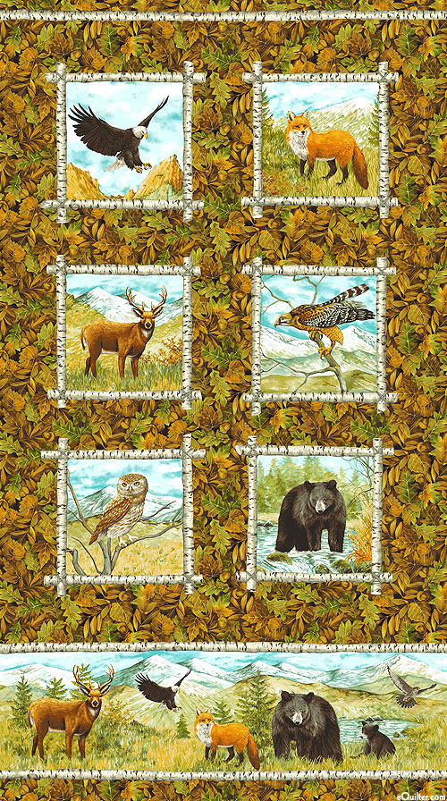 """Mountain Springs - Forest Families - 24"""" X 44"""" FLANNEL PANEL"""
