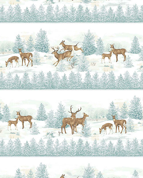 Frosted Woodland - Leaping Deer Stripe - Mist White - FLANNEL