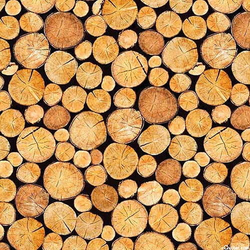 The Great Outdoors - Stacked Cut Wood - Sienna - FLANNEL
