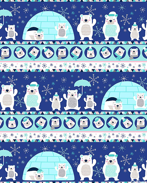 Frost Bite - Polar Bear Village Stripe - Navy Blue - FLANNEL