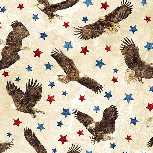 Stonehenge Stars & Stripes - Soaring Eagle - Almond - FLANNEL