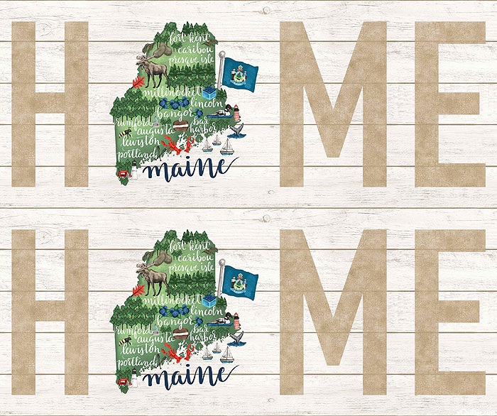 "My Home State - Maine Map - White Wash - 36"" x 44"" PANEL"