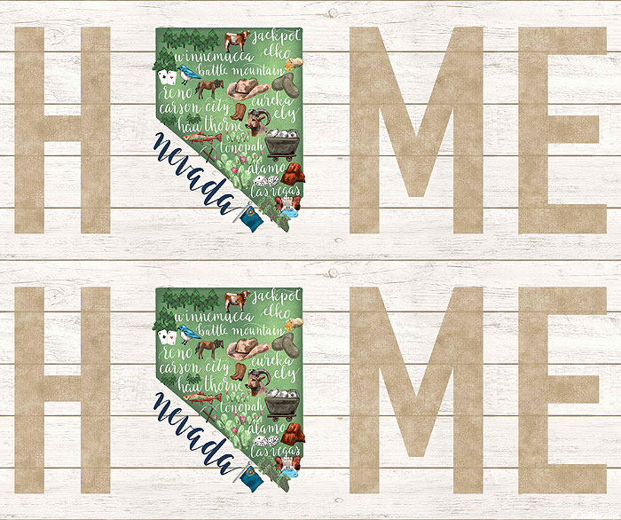 """My Home State - Nevada Map - White Wash - 36"""" x 44"""" PANEL"""