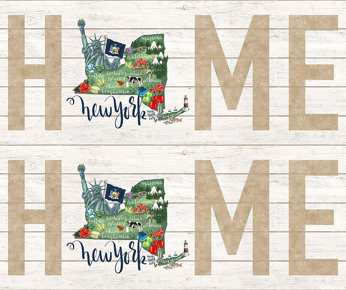 """My Home State - New York Map - White Wash - 36"""" x 44"""" PANEL"""