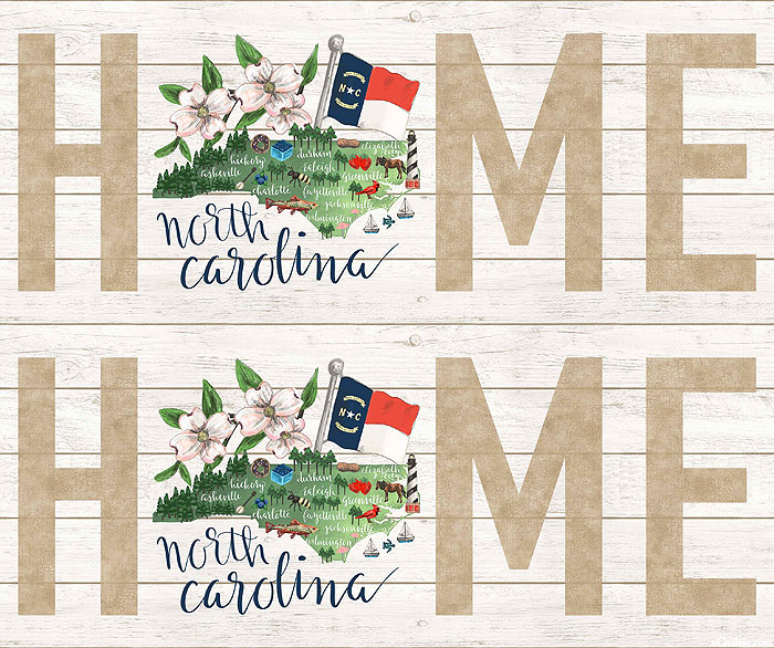 "My Home State - N Carolina Map - White Wash - 36"" x 44"" PANEL"