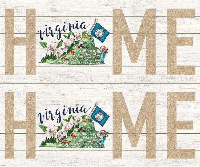 """My Home State - Virginia Map - White Wash - 36"""" x 44"""" PANEL"""