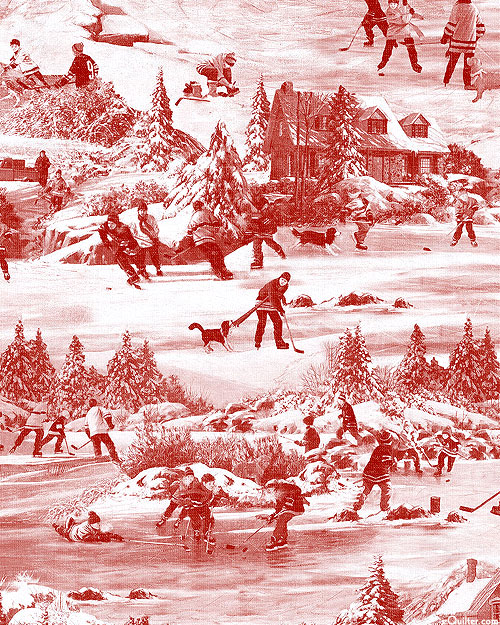 Hometown Hockey - Snow Day Toile - Cranberry Red - DIGITAL PRINT