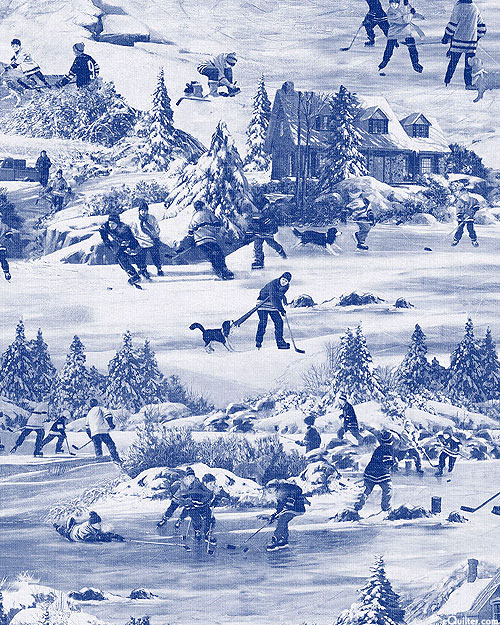 Hometown Hockey - Snow Day Toile - Powder Blue - DIGITAL PRINT