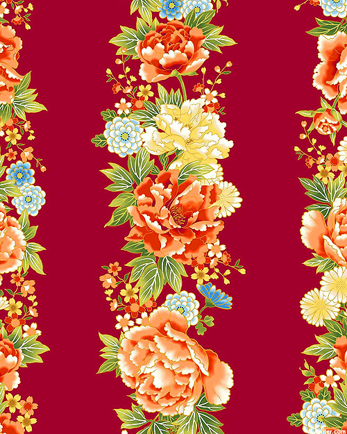 Kyoto Garden - Peony Blossom Garlands - Lacquer Red/Gold