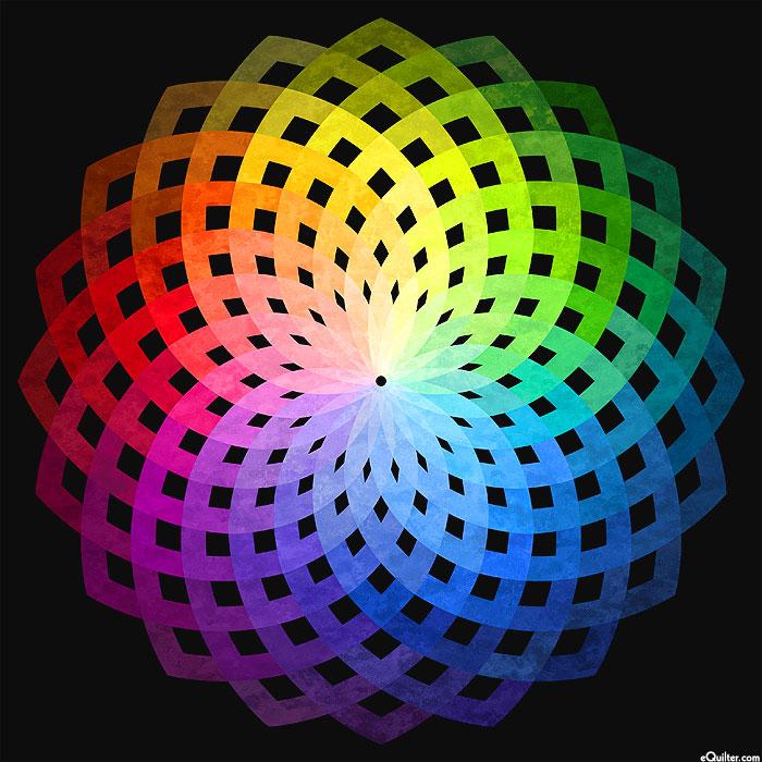 "Kaleidoscope - Rainbow Flower - 43"" x 44"" PANEL - DIGITAL PRINT"