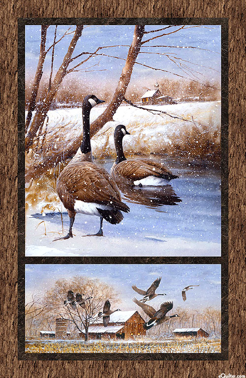 "Take a Gander - Winter Geese - 24"" x 44"" PANEL - DIGITAL"