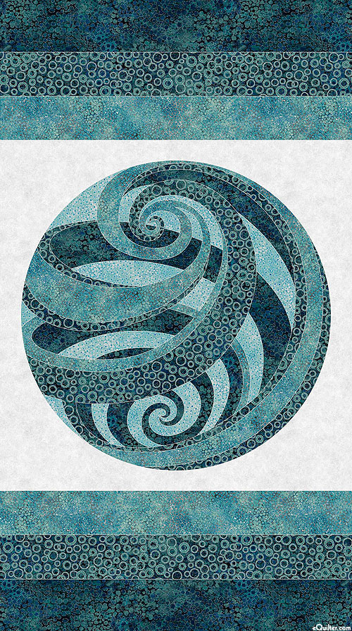 """Shimmer Eclipse - Swirling Orb - Teal/Silver - 24"""" x 44"""" PANEL"""