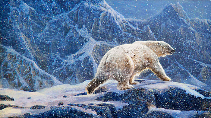 "Northern Solitude - Polar Bear - 24"" x 44"" PANEL DIGITAL PRINT"