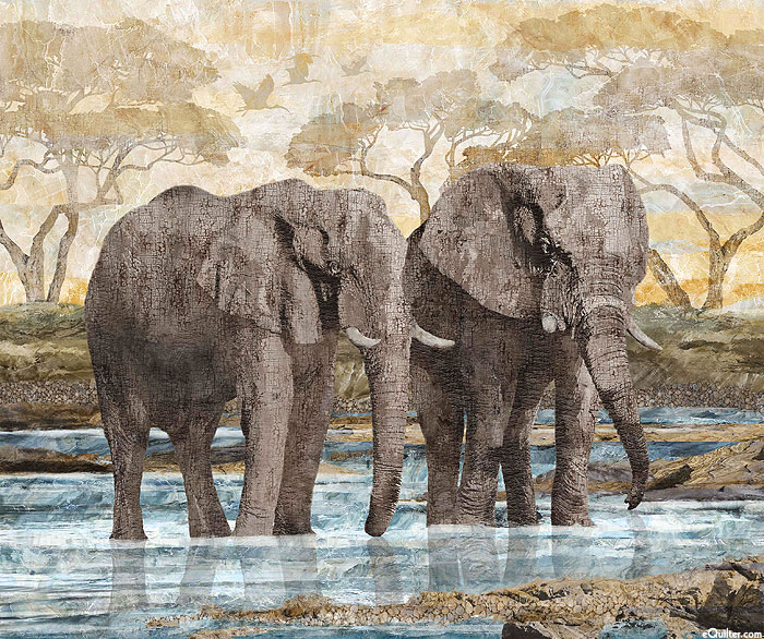 "New Dawn - Elephant Watering Hole - 36"" x 44"" PANEL - DIGITAL"