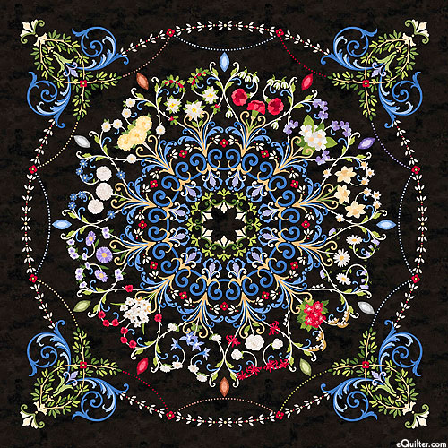 "Time After Time - Faux-Applique Medallion - 43"" x 44"" PANEL"
