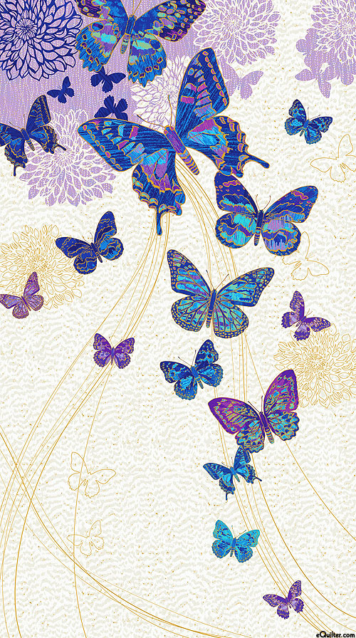 "Fantasia - Butterfly Utopia - Lilac/Gold - 24"" x 44"" PANEL"