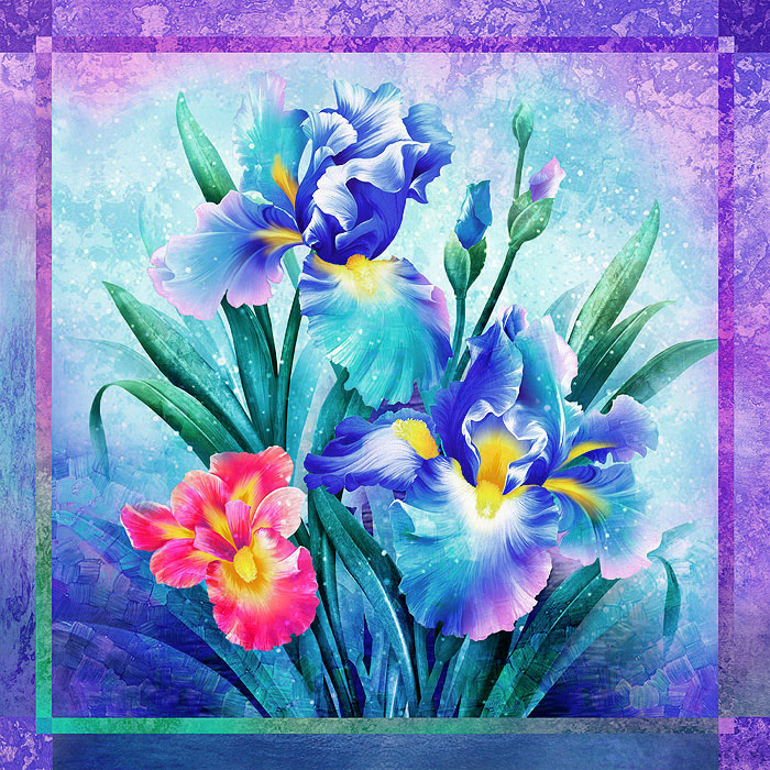 "Iris Dream - Sapphire Blue - 60"" x 60"" PANEL - DIGITAL"