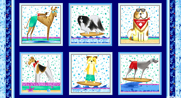 """Surfin' Hounds - Dogs in the Waves - 24"""" x 44"""" PANEL"""