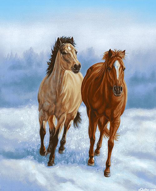 """Horse Whisperer - Pairing - Sky Blue - 36"""" x 44"""" PANEL"""