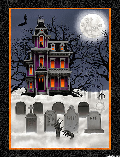 """Spooky Night - Mysterious Mansion - Black - 36"""" x 44"""" PANEL"""
